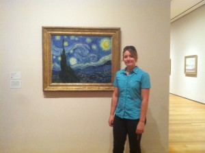 Isabel in front of Starry Night by Vincent Van Gogh at NYC MoMA