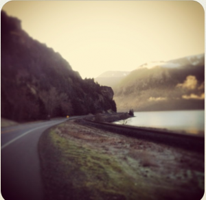 Hwy 14 on the way to the Dalles. When low on traffic, it's pretty scenic and nice!
