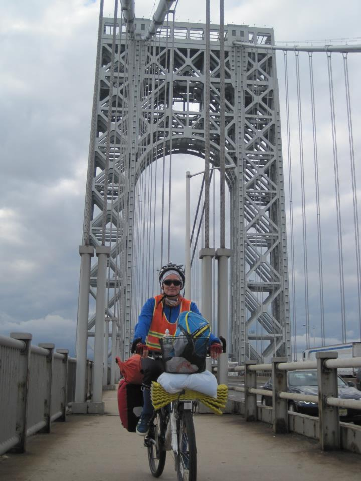 Isabel and Rocinante on the George Washington Bridge, NYC