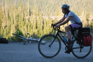 Isabel cycling through the Cascades, Washignton